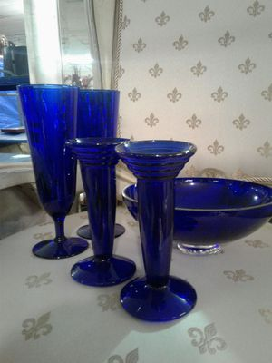 ANTIQUE BLUE GLASS WINE GLASSES 2, PLUS 2CANDLE HOLDERS,LARGE ANTIQUE BLUE BOWL for Sale in Dundalk, MD