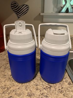 2 blue cooler water bottles for beach, travel or hiking for Sale in La Vergne, TN