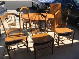 Ethan Allen Legacy maple and iron dining table with 5 country French wheatback chairs and leaf for Sale in Poway, CA