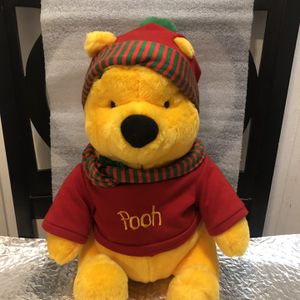 Vintage DISNEY WINNIE POOH CHRISTMAS STUFFED BEAR RED GREEN HAT SCARF for Sale in Chicago, IL