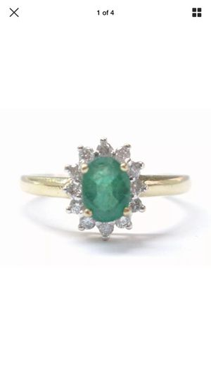 Fine gem emerald diamond anniversary yellow gold ring .93ct for Sale in Los Angeles, CA