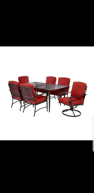 New Hampton Bay Oak Cliff 7-Piece Outdoor Dining Set with 4 Stationary & 2 Swivel Chairs and Chili Cushions ☆Retail Price:$699+Tax☆ for Sale in Phoenix, AZ