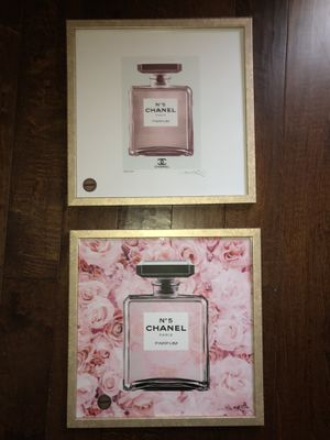 CHANEL perfume gold framed photos 17x17 perfect cond. New for Sale in San Diego, CA