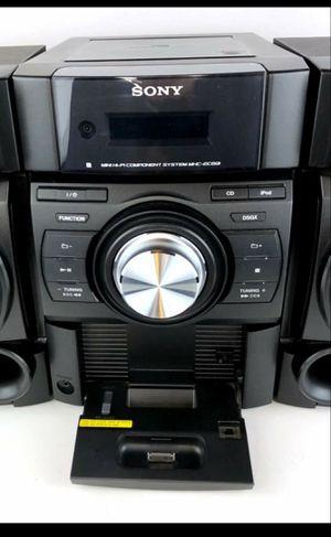 Sony stereo speaker system + radio, black w/ older iPhone/ ipod amount for Sale in Denver, CO