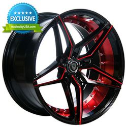 "New 20"" Staggered Marquee Wheels 3259 Black Red Inner Extreme Concave - 4pcs (1set) for Sale in Industry,  CA"