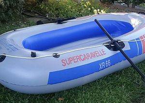 Inflatable Boat Raft, 3 person boat with paddles. Made by Super Caravelle XR 66 model. It can also hold an electric motor for Sale in Long Beach, CA