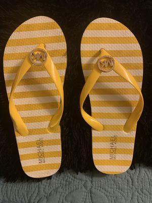 Michael Kors Yellow & White Stripe Flip Flops for Sale in Cabot, AR