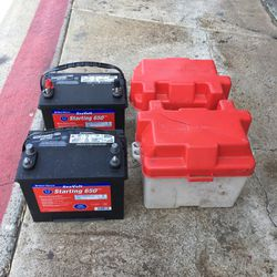 Battery Bank / 2 West Marine Sea Volt 650 MCA Batteries With Boxes for Sale in Huntington Beach,  CA
