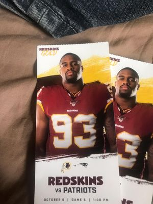 Redskins and Patriots tickets for Sunday front row seats section one on the bottom level everything free 300 for Sale in Washington, DC