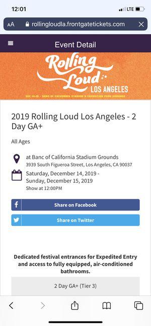 GA + rolling loud ticket for Sale in Los Angeles, CA