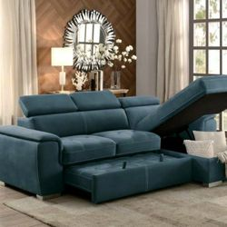 Ferriday Blue Storage Sleeper Sectional 🔴$39 DOWN Payment Only 100 DAY same as cash for Sale in Philadelphia,  PA