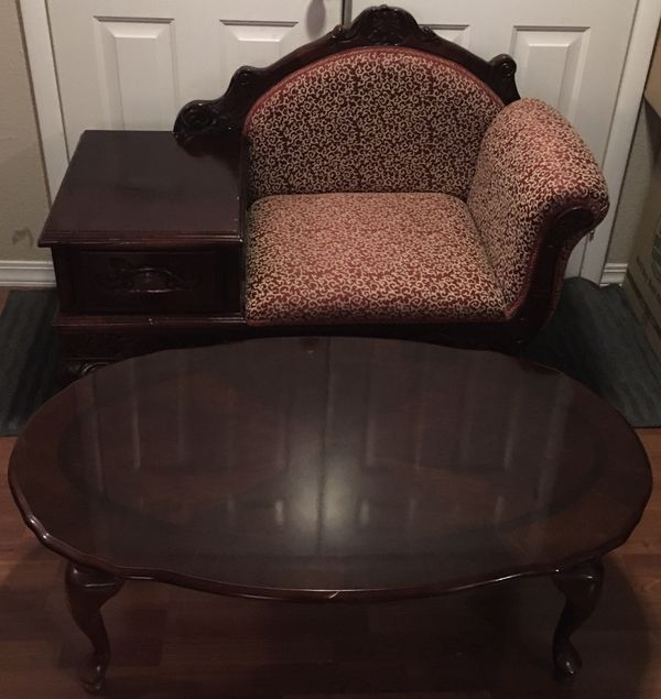 RARE FRENCH-STYLE CHERRYWOOD TÉLÉCHAISE & CENTER TABLE SET!