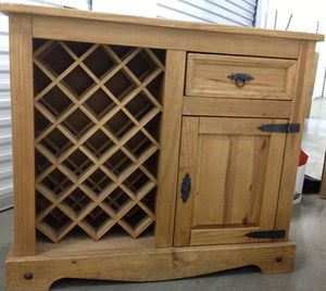 Cabinet solid wood drop leaf island cabinet with wine rack for Sale in South Pasadena, CA