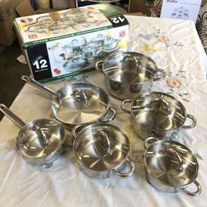 Stainless Steel Cook N Home 12 Pcs Cooking Set Kitchen Cookware Walmart Costco Deluxe Appliances for Sale in Pico Rivera, CA