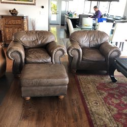 Leather Chairs & 1 Ottoman for Sale in Seattle,  WA