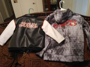 Harley Davidson size 3T and 49'ers hooded sweatshirt size Medium for kids for Sale in Reedley, CA