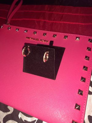 14k rose gold with real DIAMONDS hoop earrings!! for Sale in Phoenix, AZ
