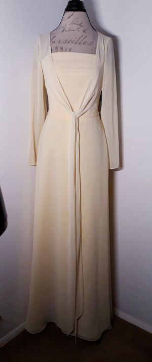 Pale Yellow Strapless Formal Dress Eith Sheer Cover Up Sz 12 for Sale in Las Vegas, NV