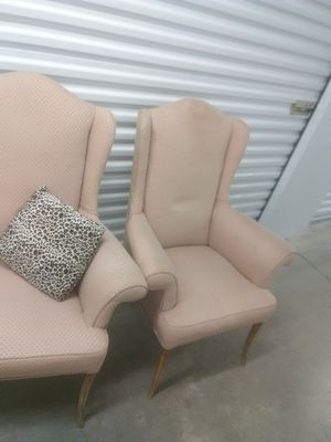 Two wingback Peach cream chairs liquidation for Sale in Takoma Park, MD