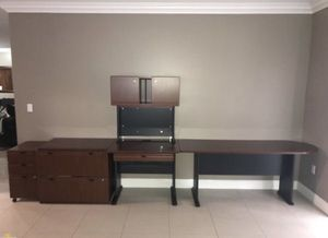 4 PIECE OFFICE FURNITURE SET (includes small file cabinet, big file cabinet, desk with hutch & U shaped table for Sale in Miami, FL