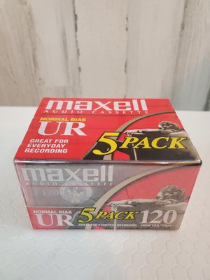 SEALED Maxell UR 120 Audio Cassette Tape 5 Pack - 120 Minutes Normal Bias - NEW. for Sale in Tacoma, WA