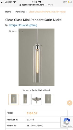 Design Classics (3) Modern Kitchen Clear Glass Pendant Lights for Sale in Woodinville, WA