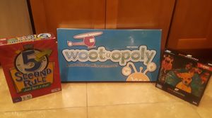 Wootopoly board game(brand new), 5 second rule game, 500 piece puzzle for Sale in Irwindale, CA