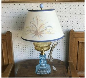 Antique Yellow Blue Glass Lamp- Electrified Oil for Sale in Beaver Falls, PA