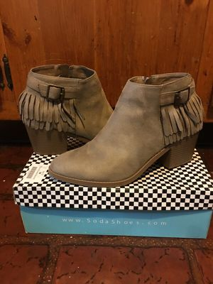 Women's size 10 tan micro suede ankle boots with fringe accents for Sale in Rochester, PA