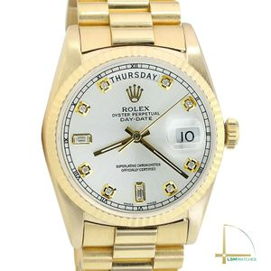 Rolex Day-Date 18238 18KY 36mm Watch Silver Diamond Fluted President Band for Sale in Los Angeles, CA