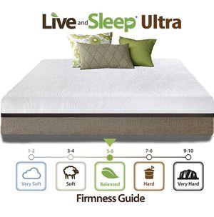 Live & Sleep Ultra , Cool Gel Memory Foam Mattress, 12-Inch, , Medium-Firm Advanced Support- CertiPur Certified - Queen Size for Sale in Sun City, AZ
