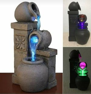 NEW Rustic Vase Indoor Water Fountain Tabletop Waterfall Relaxation Cascading LED Dual Powered Gray for Sale in Brooklyn, NY