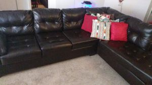 L section black leather sofa for Sale in Brandon, FL