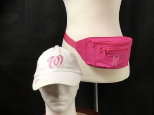 Washington Nationals Adjustable Hat White Pink Breast Cancer Awareness Ribbon & Breast Cancer Awareness Fanny pack for Sale in Bowie, MD