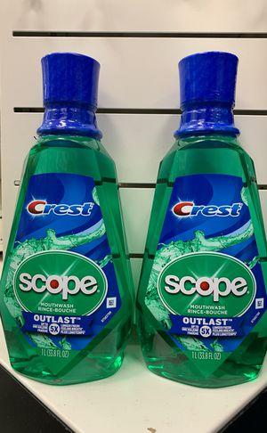 Set of 2 large 1-liter Scope Outlast mouthwash for Sale in Alexandria, VA
