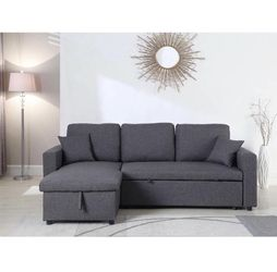 GRAY Pull Out Sectional Sofa Reversible Chaise for Sale in Pomona,  CA
