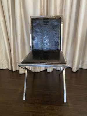 Chrome Finish Chair with Black Alligator Leathers for Sale in San Francisco, CA