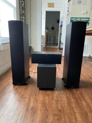 Jamo C605 home theatre speakers, with Polk audio sub woofer for Sale in Waco, TX