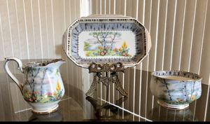 Vintage Royal Albert Bone China Silver Birch Mini Creamer, Sugar, Tray....EXCELLENT! for Sale in Downers Grove, IL
