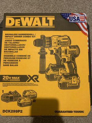 DEWALT 20-Volt MAX XR Lithium-Ion Cordless Brushless Hammerdrill/Impact Combo Kit DCK299P2 (2-Tool) w/ (2) 5Ah Batteries, Case, Charger for Sale in Chandler, AZ