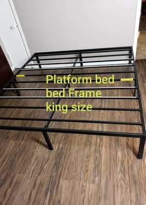 Platform bed frame king size. Metal. New. Free delivery. for Sale in Modesto, CA
