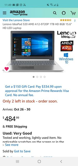 "Lenovo IdeaPad 320 Business Laptop - 15.6"" HD - AMD A12-9720P - 8gb RAM - 1tb Hard Drive for Sale in Phoenix, AZ"
