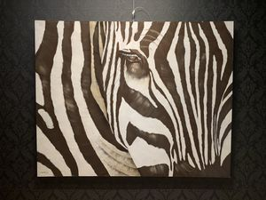 R. Atkins Zebra Original (Contemporary Oil Painting on canvas) Signed for Sale in Chicago, IL