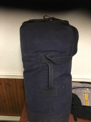 Navy bag with 2 new sleeping bags inside for Sale in Post Falls, ID