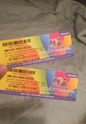 Tickets to schlitterbahn in Galveston! 2 for 40 for Sale in El Campo, TX