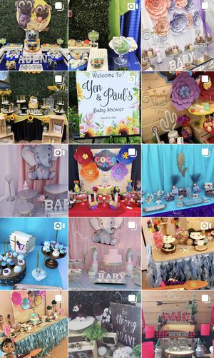 Candy bars/dessert table/Mesa de Postres/Gender Reveal/Baby Shower/15era/bautizo/party Decorations/gender reveal/anniversary/wedding for Sale in Seal Beach, CA