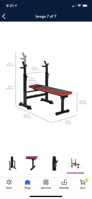 Foldable benchpress with adjustable racks for squats and step ups for Sale in South Miami, FL