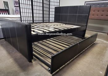 HOT SELLER, BLACK FULL PLATFORM BED WITH TWIN TRUNDLE, SKU#7526. for Sale in Huntington Beach,  CA