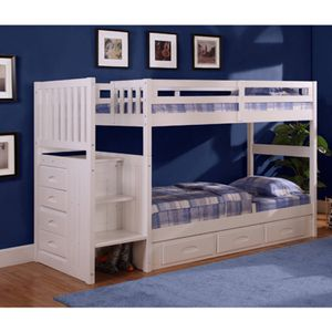 Twin over twin white bunk bed for Sale in Dublin, CA