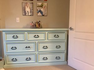 Tiffany blue wooden dresser gently used for Sale in Scottsdale, AZ